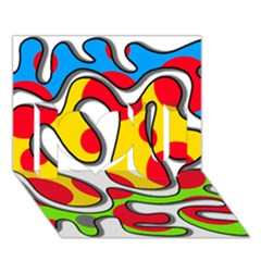 Colorful graffiti I Love You 3D Greeting Card (7x5)
