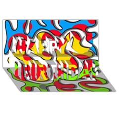 Colorful graffiti Happy Birthday 3D Greeting Card (8x4)