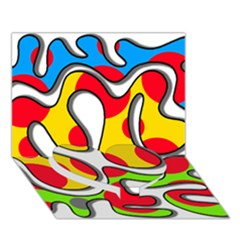 Colorful graffiti Heart Bottom 3D Greeting Card (7x5)