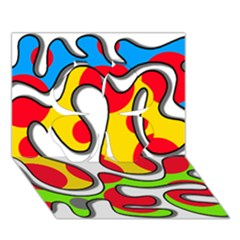 Colorful graffiti Clover 3D Greeting Card (7x5)