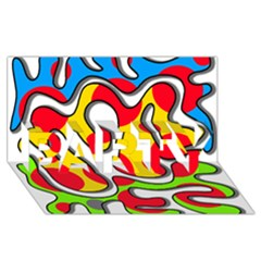 Colorful Graffiti Party 3d Greeting Card (8x4)