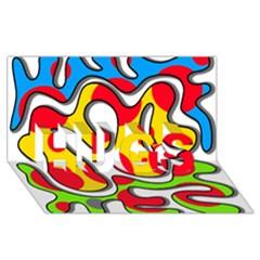 Colorful graffiti HUGS 3D Greeting Card (8x4)