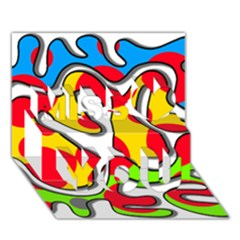 Colorful Graffiti Miss You 3d Greeting Card (7x5)