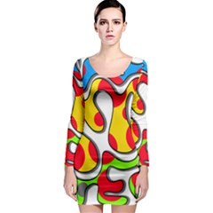 Colorful graffiti Long Sleeve Bodycon Dress