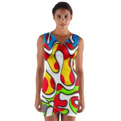 Colorful Graffiti Wrap Front Bodycon Dress
