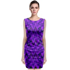Purple Wavey Squiggles Classic Sleeveless Midi Dress