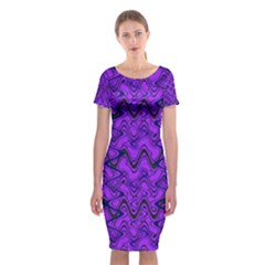 Purple Wavey Squiggles Classic Short Sleeve Midi Dress
