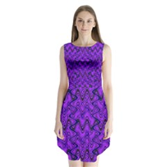 Purple Wavey Squiggles Sleeveless Chiffon Dress