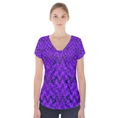 Purple Wavey Squiggles Short Sleeve Front Detail Top