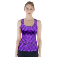 Purple Wavey Squiggles Racer Back Sports Top