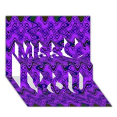 Purple Wavey Squiggles Miss You 3d Greeting Card (7x5)