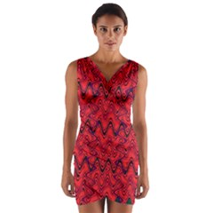 Red Wavey Squiggles Wrap Front Bodycon Dress