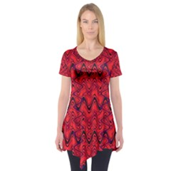 Red Wavey Squiggles Short Sleeve Tunic