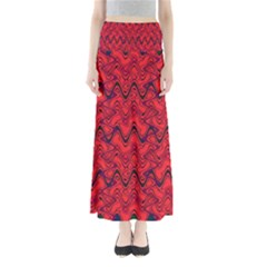 Red Wavey Squiggles Maxi Skirts
