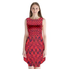Red Wavey Squiggles Sleeveless Chiffon Dress