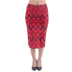 Red Wavey Squiggles Midi Pencil Skirt