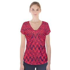 Red Wavey Squiggles Short Sleeve Front Detail Top