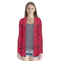Red Wavey Squiggles Drape Collar Cardigan