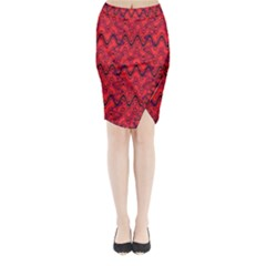 Red Wavey Squiggles Midi Wrap Pencil Skirt