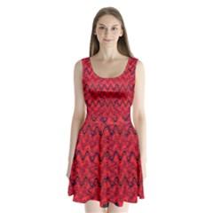 Red Wavey Squiggles Split Back Mini Dress