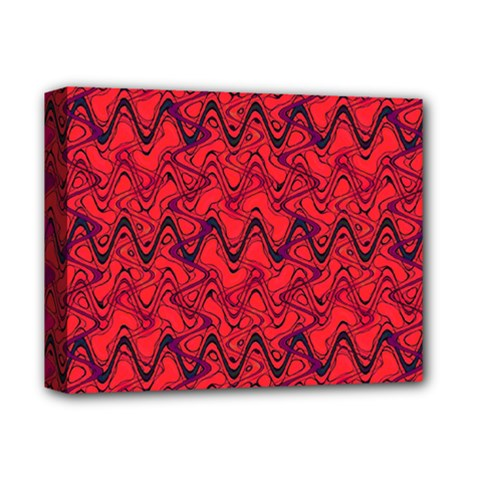 Red Wavey Squiggles Deluxe Canvas 14  x 11
