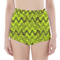 Yellow Wavey Squiggles High-Waisted Bikini Bottoms
