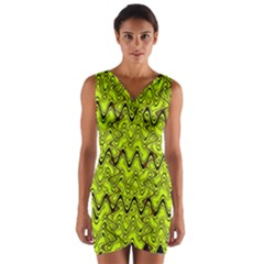 Yellow Wavey Squiggles Wrap Front Bodycon Dress