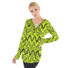 Yellow Wavey Squiggles Women s Tie Up Tee