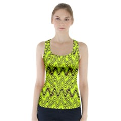 Yellow Wavey Squiggles Racer Back Sports Top