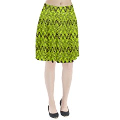 Yellow Wavey Squiggles Pleated Skirt