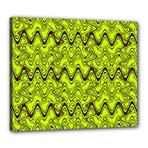 Yellow Wavey Squiggles Canvas 24  x 20