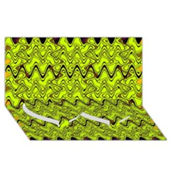 Yellow Wavey Squiggles Twin Heart Bottom 3d Greeting Card (8x4)