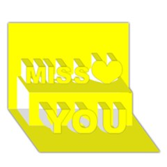 Yellow colour Miss You 3D Greeting Card (7x5)