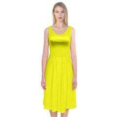 Yellow colour Midi Sleeveless Dress