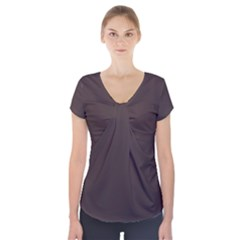 Woody Brown Colour Short Sleeve Front Detail Top