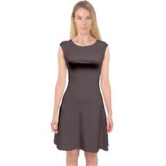 Woody Brown Colour Capsleeve Midi Dress