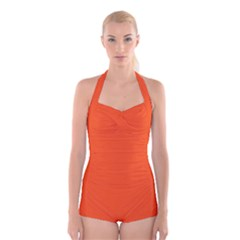 Vermilion Colour Boyleg Halter Swimsuit