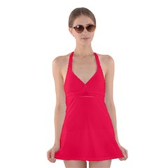Torch Red Colour Halter Swimsuit Dress