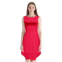 Torch Red Colour Sleeveless Chiffon Dress