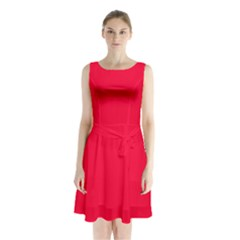 Torch Red Colour Sleeveless Chiffon Waist Tie Dress
