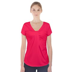 Torch Red Colour Short Sleeve Front Detail Top