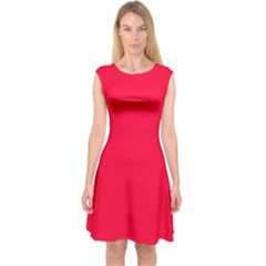Torch Red Colour Capsleeve Midi Dress