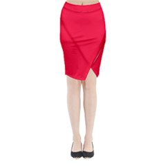 Torch Red Colour Midi Wrap Pencil Skirt