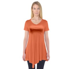 Tomato Colour Short Sleeve Tunic