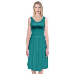 Teal Colour Midi Sleeveless Dress