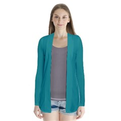 Teal Colour Drape Collar Cardigan