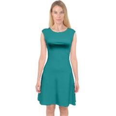 Teal Colour Capsleeve Midi Dress