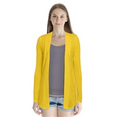 Tangerine Yellow Drape Collar Cardigan