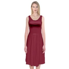 Tamarillo Colour Midi Sleeveless Dress