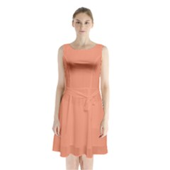 Tacao Colour Sleeveless Chiffon Waist Tie Dress